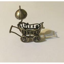 Miniatură de argint trăsură...